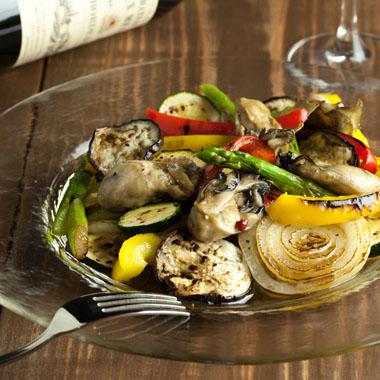 牡蠣と焼き野菜のサラダ